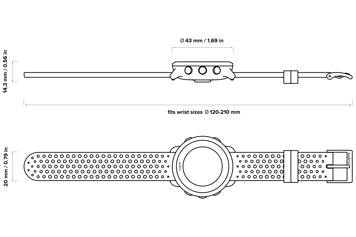 Suunto 3 Tehniskās specifikācijas uzmetums